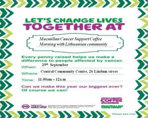 Macmillan Coffee Morning with the Lithuanian Community @ Central Community Centre | Scunthorpe | United Kingdom