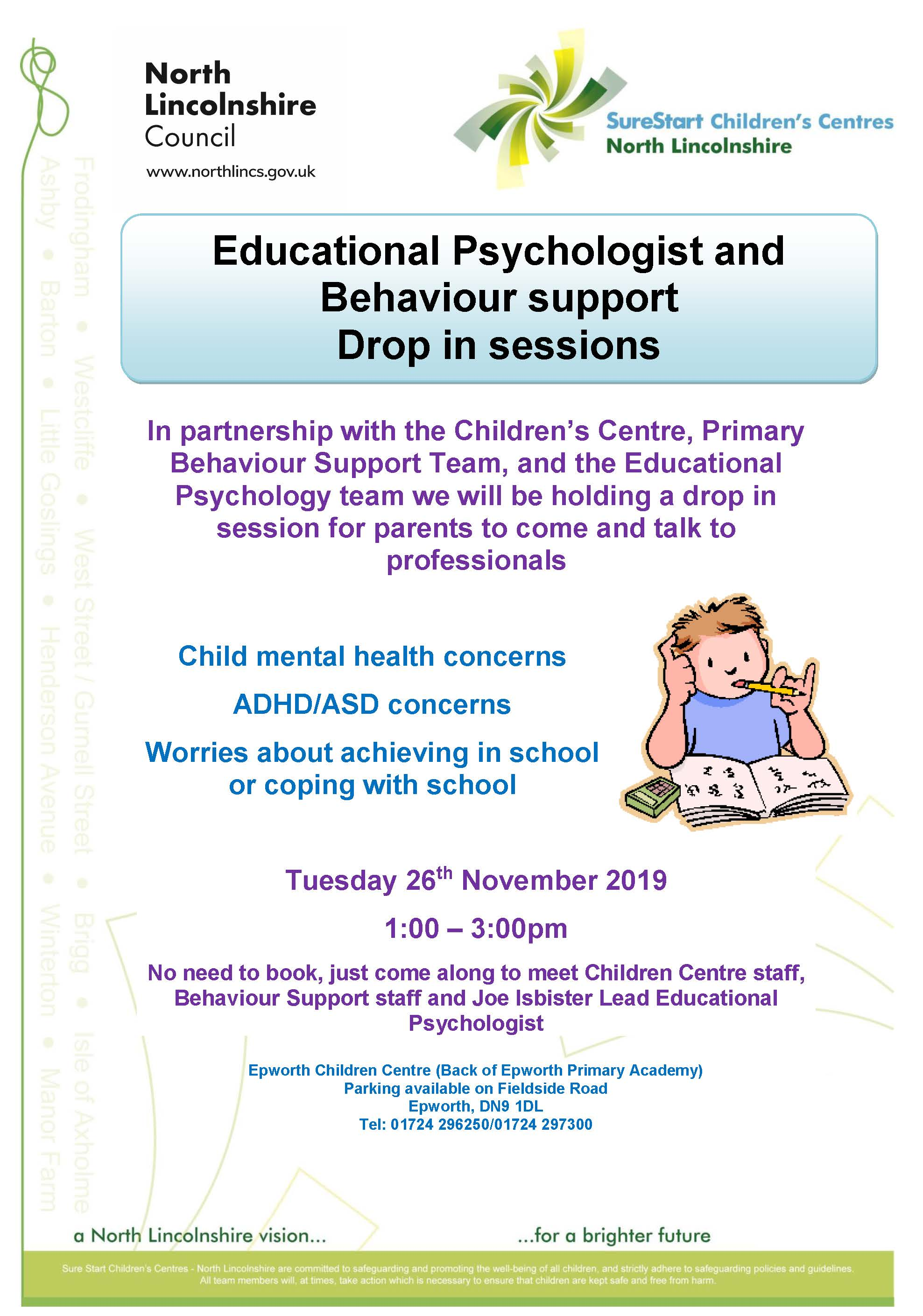 Educational Psychologist and Behaviour Support drop in session @ Epworth Children's Centre