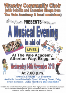 A Musical Evening in aid of LIVES @ The Vale Academy
