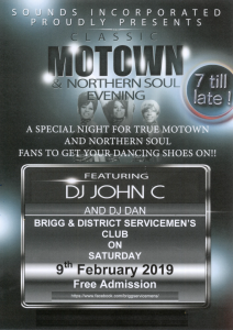 Classic Motown and Northern Soul Evening @ Brigg and District Servicemens Club