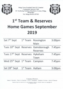Brigg Town Football Club - 1st Team & Reserves Home Games September 2019 @ Brigg Town Football Club